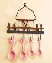 "Kitchen Delights 5-piece Pig Ceramic Measuring Spoon Set with Metal Barn Hanging Rack 9"" X 4-5/8"" X 1"" at Sears.com"