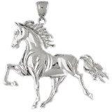 CleverEve 14K White Gold Running Horse Pendant 11.4 Grams