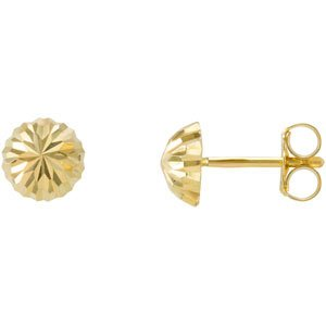 14K Yellow Gold Half Ball Earrings with backs: 8 mm