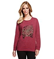 M&S Collection Lotus Print & Stud Embellished Sweat Top