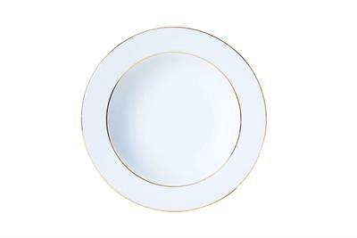 Assiette creuse 22,5 cm porcelaine filet or sous émail Classic 2615561 - Réception - Lot de 6