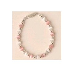 Pink and White Color Beaded Bracelet - Size: 5 inches