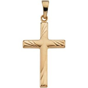 R41283 14K Yellow Gold, 24X16, Cross Pendant