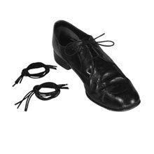 a black shoes laced with an elastic shoe lace
