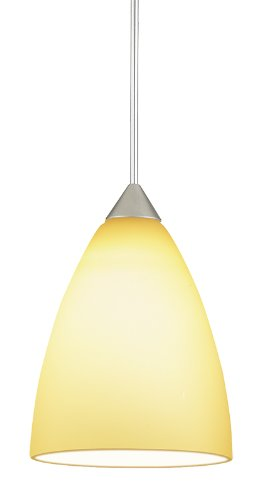 Juno Lighting P61Mpla2-Stn-Amb Medium Dome 5W 12V 2700K Led Monopoint Pendant With Amber Etched Glass, Satin Nickel Finish