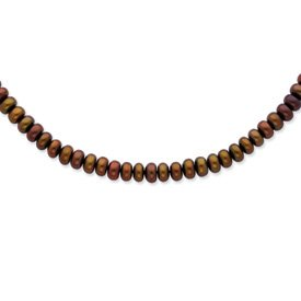 Sterling Silver 6-7mm FW Cult. Pearl Chocolate Necklace. 18in long Necklace.