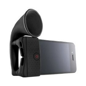 HORN STAND NERO AMPLIFICATORE IN SILICONE PER IPHONE 4 4S