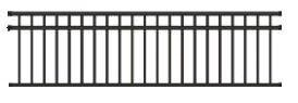Wrought Iron Deck & Fence Railing - 4 -1/2 ft High x 8 ft Long. 3 Rail, Powder Coated Tubular Steel