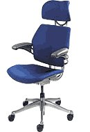 Freedom Chair by Humanscale - Headrest - Advanced Duron Arms - Graphite Frame - Gel seat - Blue Wave