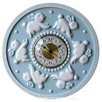 Bunnies Round Wall Clock in Multiple Colors