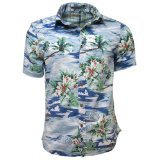 Raging Rooster - Herren Männer Kurzärmeliges Hawaii Insel Muster Hemd - Blau, L