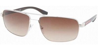 prada Prada Sport PS55NS Sunglasses-1BC/6S1 Silver (Brown Gradient Lens)-60mm