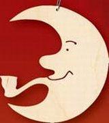 Kunsthandwerkstube Taulin Erzgebirge Mond mit Pfeife d = ca. 6 - 7 cm