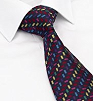 Machine Washable Textured Block Design Tie