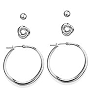 M&S Collection Silver Plated Assorted Trio Earrings Set