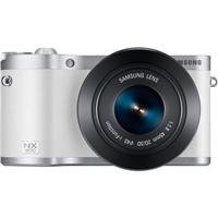 "Samsung NX300 20.3MP CMOS Smart WiFi Compact Interchangeable Lens Camera with 45mm 2D/3D Lens and 3.3"" AMOLED Touch Screen (White)"