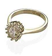 M&S Collection Gold Plated Cluster Diamanté Ring