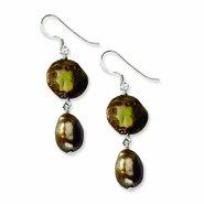 Sterling Silver Copper & Brown Cultured Freshwater Pearl Earrings - QE6122