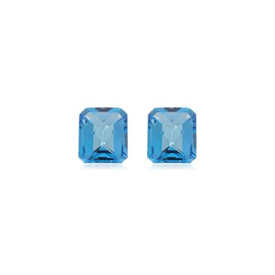 2.25 Cts of 7x5 mm AA Matching Emerald Checker Board Loose Swiss Blue Topaz ( 2 pcs ) Gemstones