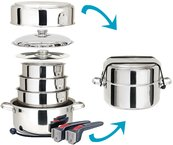 Magma Cookware 10 Pc S/S Stainless Steel Finish Includes Lid For Stock Pot & Saute Pan