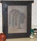 Country Rustic Primitive Willow Tree Spice Cabinet