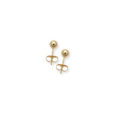 14k Yellow Gold Small (S) Size Perfect Fit Baby/Men/Children 3mm Ball Stud Earrings, Hypoallergenic