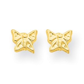 14k Yellow Gold Butterfly Children's Post Earrings