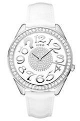ead68c273f Guess - W11143L2 - Montre Femme - Quartz Analogique - Cadran Argent - Bracelet  Cuir Blanc
