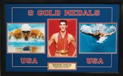 Signed Phelps, Michael 8 Olympic Gold Medals 3 8x10 Photograph Collage Michael Phelps accomplishments as an Olympian are astounding. After winning an amazing 6 Gold Medals at the 2004 Olympic Games in Athens, Michael Phelps set out on a quest to break Mark Spitz record of 7 gold medals in a single Olympic games in Beijing. Michael Phelps did not disappoint his millions of fans, winning gold in all 8 events he competed in during the Beijing games, as wel Photo