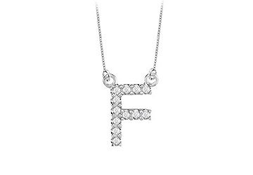 Petite Baby Charm Cubic Zirconia F Initial Pendant .925 Sterling Silver - 0.25 CT TGW MADE IN USA