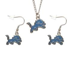 NFL Detroit Lions Necklace and Dangle Earring Charm Set Sports Jewelry