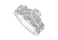 Diamond Engagement Ring with Wedding Band Set 14K White Gold - 0.80 CT Diamonds