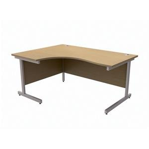 Brand New. Trexus contract Desk sinistro radiale argento gambe W1600 x D1200 x H725 MM Oak