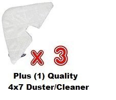 Replacement (+ Plus Bonus) 3 Steam Mop Triangle Pads Fit Shark Europro S-3501**s-3601** Plus Bonus: Microfiber Sponge (Shark Steam Mop 3601 Pads compare prices)
