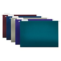 Office Depot 2-Tone Hanging File Folders, 1/5 Cut, 8 1/2in. x 14in., Legal Size, Assorted Colors, Box Of 25, ODOM01945