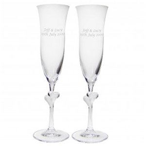 PMC Personalised Champagne Flutes - 2 Heart Stem Glasses with Gift Box