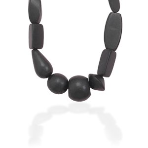 Black Wood Bead Fashion Necklace 16 Inch Multi Shape Black Wood Bead Toggle Necklace - JewelryWeb