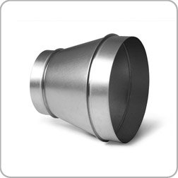 200mm to 150mm diameter reducer, galvanised steel ducting, hydroponics grow room, ventilation