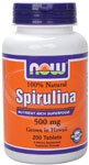 Now Foods 100% Natural Spirulina (Grown in Hawaii) 500mg 200 Tablets