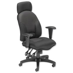 Spicers Influx Energize Aviator Armchair Seat W540xD450xH490-590mm Black Ref 11199-01Blk
