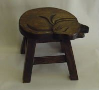 Sleeping Kitty Hand Carved Wooden Foot Stool (Dark Finished)