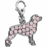 Rottweiler dog pink crystal clip on charm