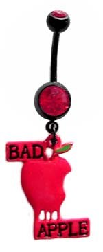 Black Barbell Bad Apple Lol goth Dangle Belly button Navel Ring 14 gauge