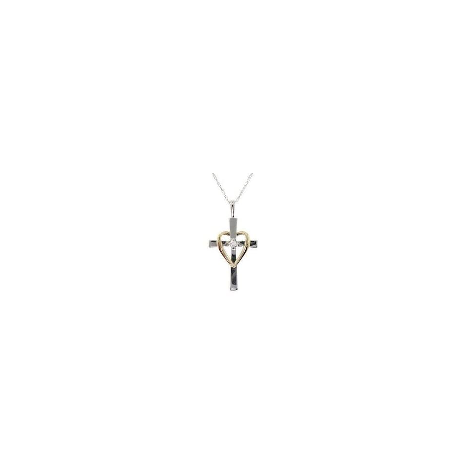 Diamond 10K Two Tone Gold Heart and Cross Pendant Necklace