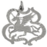 CleverEve 14K White Gold Cut-Out Pegasus Pendant 1.6 Grams