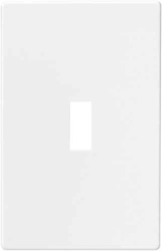Cooper Wiring Devices PJS1W Polycarbonate 1-Gang Screwless Toggle Mid Size Wall Plate, White
