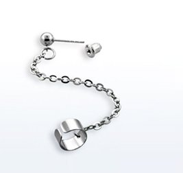 Cuff Earrings with Chain and Stud Earrings, Stainless Steel Cartilage Earrings