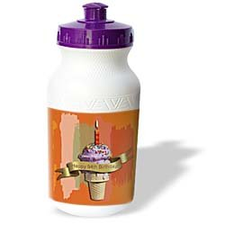 Beverly Turner Birthday Design - Happy 94th Birthday, Strawberry Ice Cream Cone on Abstract, Orange - Water Bottles