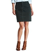 Indigo Collection Cotton Rich Jet Pocket Corduroy Skirt