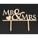 Mirror Gold Acrylic Cake Topper Party Decoration Cupcake Stand (Mirror Gold - Mr & Mrs)